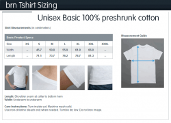 Cotton Basic TShirt Size Chart